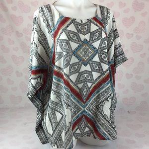 Chico's Size 3 Popover Cold Shoulder Kimono Style